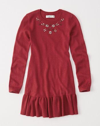 kids embellished sweater dress