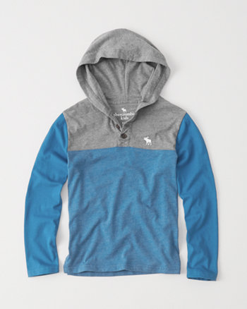 kids hooded henley