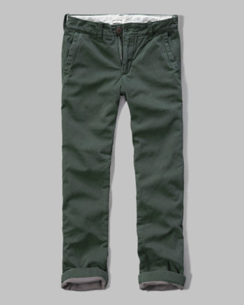 kids a&f slim straight fleece lined chinos
