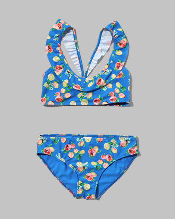 kids ruffle two-piece peasant swimsuit