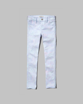 kids a&f marble printed cropped jeans