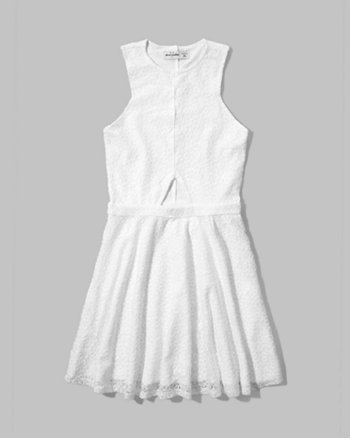 kids lace cut-out skater dress