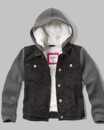 kids sherpa lined denim jacket