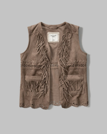 kids faux suede fringe vest