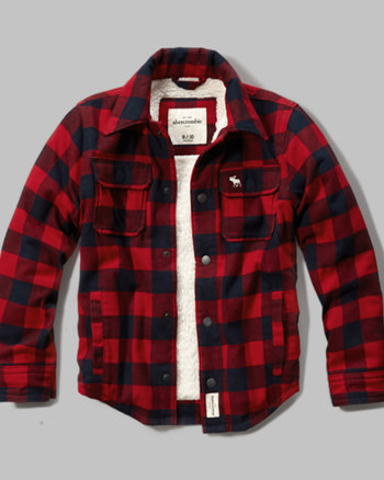 kids sherpa lined plaid jacket