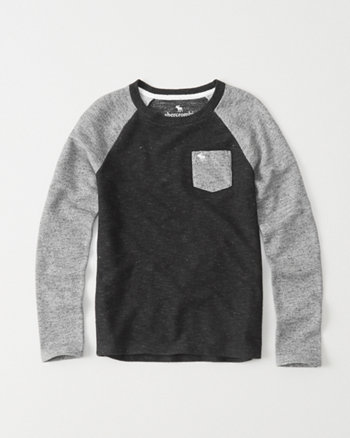 kids terry raglan pocket tee