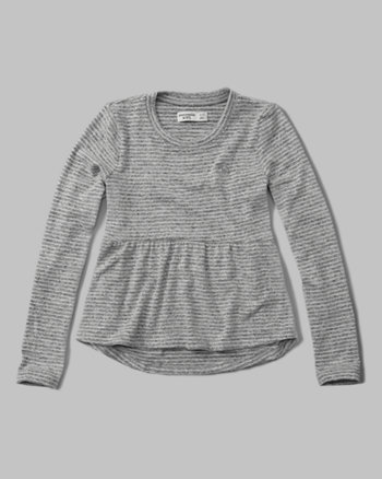 kids long-sleeve peplum tee