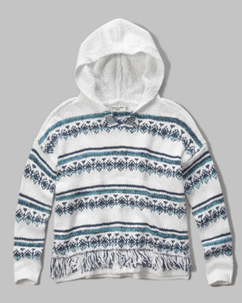 kids hooded open stitch sweater