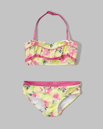 kids ruffle bandeau two-piece swimsuit