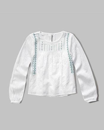 kids embroidered boho top