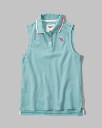 kids sleeveless logo polo