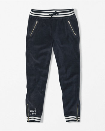kids velour zip accent joggers