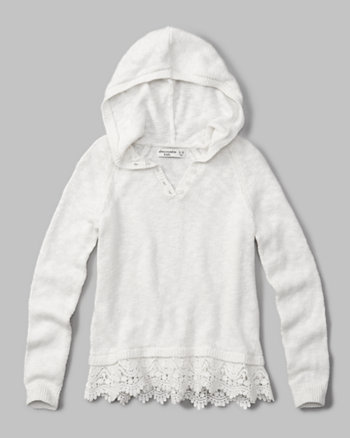 kids lace-trim hooded henley sweater