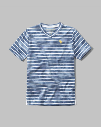 kids v neck stripe tee