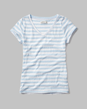 kids striped v neck tee