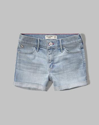 kids a&f high rise denim shorts