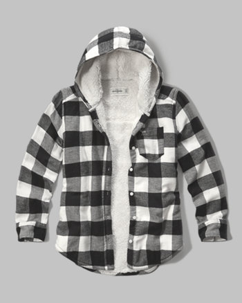 kids sherpa lined hooded plaid shirt