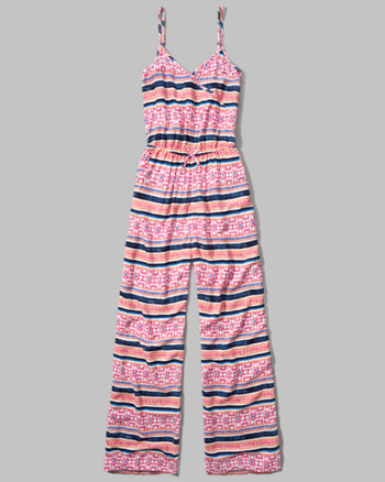 kids patterned cross front jumpsuit