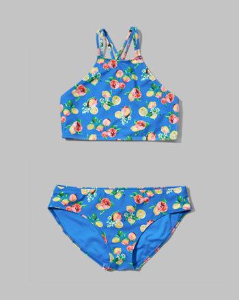 kids pattern two-piece scuba swimsuit