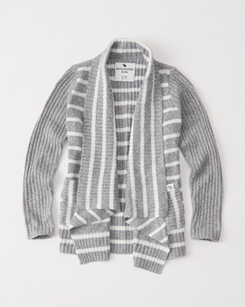 kids ribbed shawl cardigan