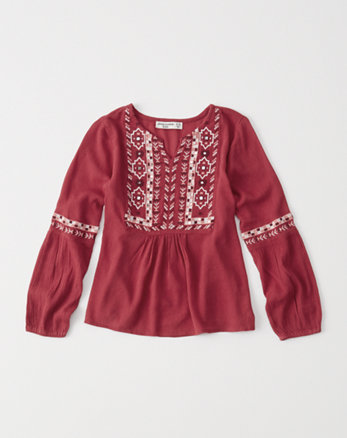 kids embroidered boho top