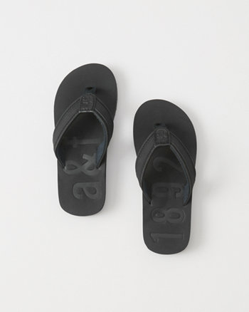 kids Faux Leather Flip Flops