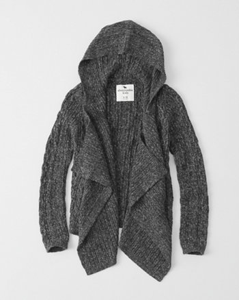 kids hooded cable knit cardigan
