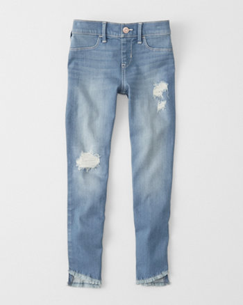 kids ripped pull-on jean ankle jean leggings