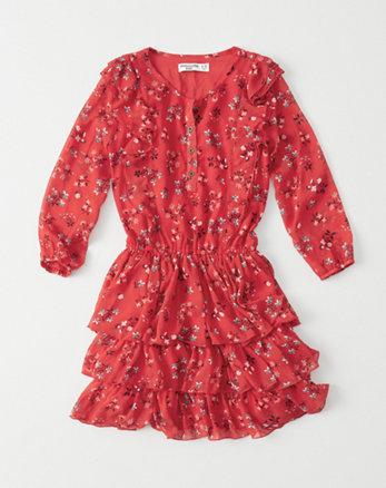 kids chiffon ruffle dress