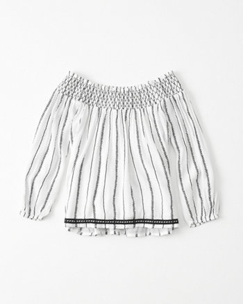 kids patterned smocked peasant top