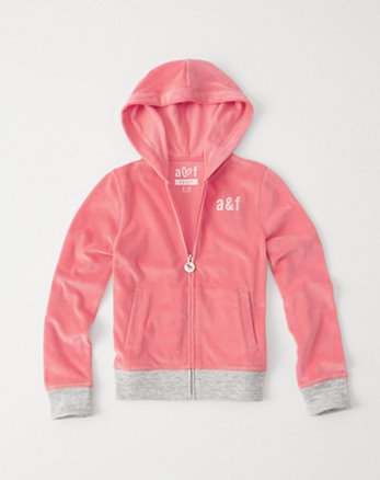 kids velour full-zip fleece hoodie