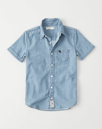 kids Short Sleeve Denim Shirt