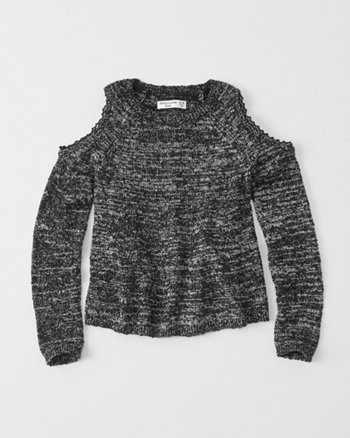 kids lace cold shoulder sweater