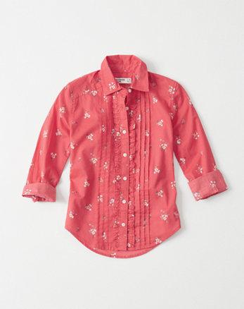 kids ruffle poplin shirt