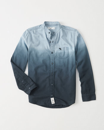 kids dip dye mandarin collar shirt