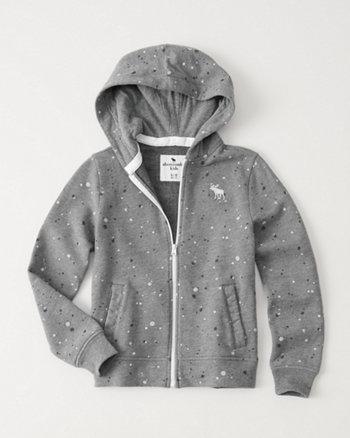 kids Splatter Print Full-Zip Hoodie