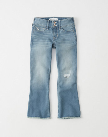 kids Cropped Ripped Flare Jeans