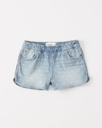 kids Heart Print Pull-On Denim Shorts