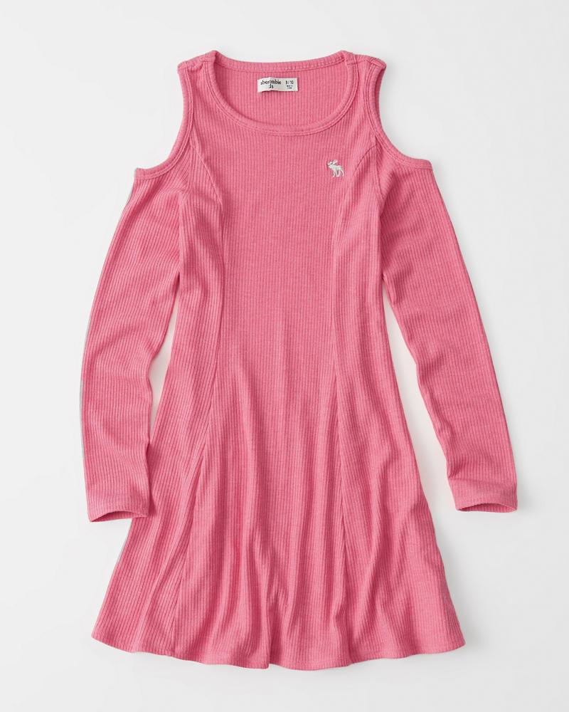 girls ribbed cold-shoulder dress  5569a6b13