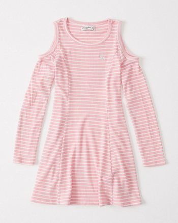 kids ribbed cold-shoulder dress