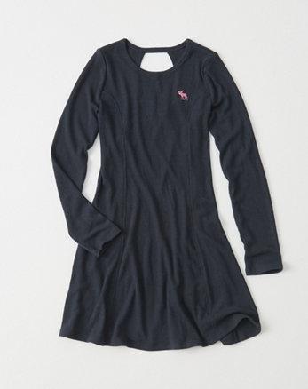 kids Long-Sleeve Ribbed Dress
