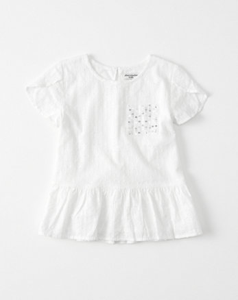 kids Sequin Pocket Peplum Tee
