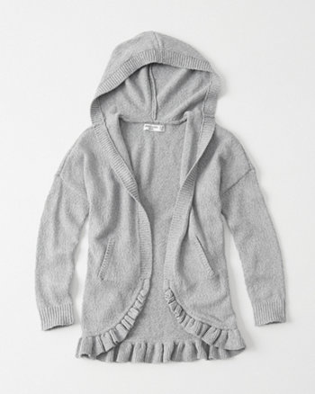 kids Ruffle Hem Hooded Cardigan
