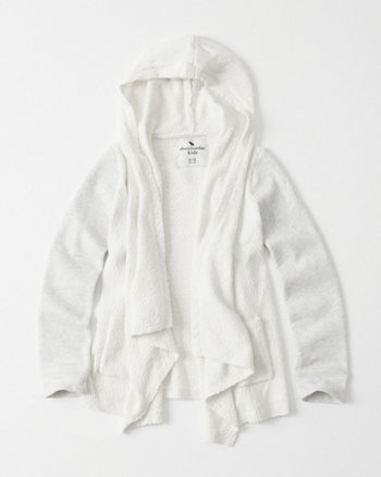 kids Fleece Sleeve Hooded Cardigan