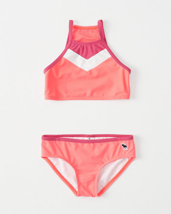 kids High-Neck Two-Piece Swimsuit