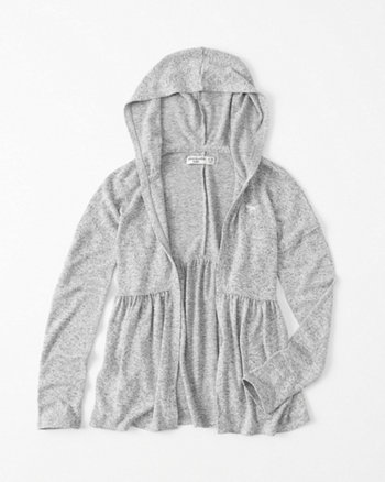 kids Hooded Peplum Cardigan