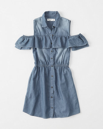 kids Cold-Shoulder Ruffle Dress
