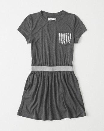 kids Shine Pocket T-Shirt Dress