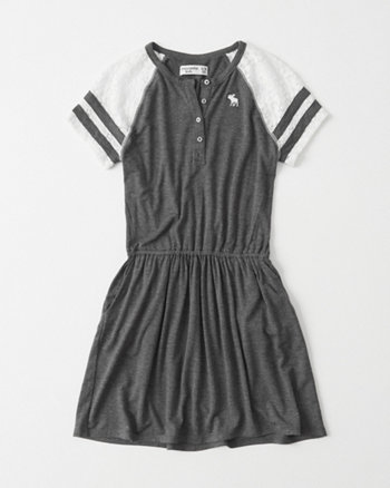 kids Lace Sleeve Baseball Dress