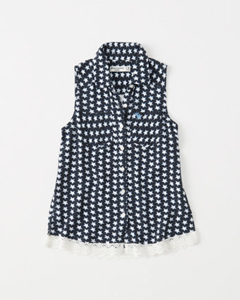 kids americana lace-hem shirt